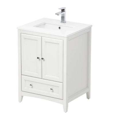 Oxford 24 in. Vanity in Antique White with Ceramic Vanity Top in White with White Basin and Mirror