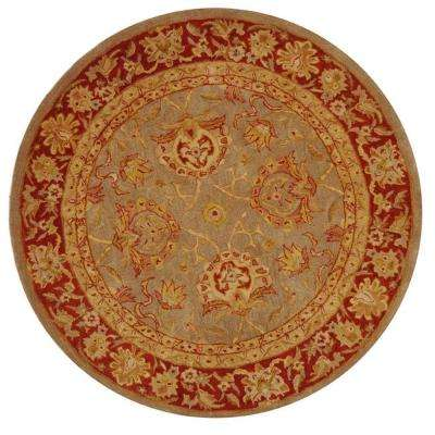 Anatolia Grey/Red 8 ft. x 8 ft. Round Area Rug