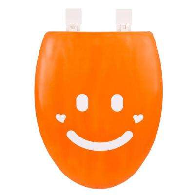 Smile Elongated Closed Front Toilet Seat in Orange and White