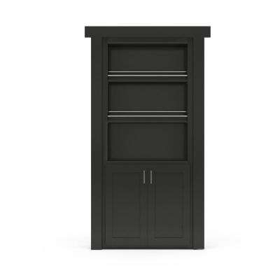 32 in. x 80 in. Flush Mount Assembled Forward Pantry Door Paint Grade Black Right-Hand Inswing
