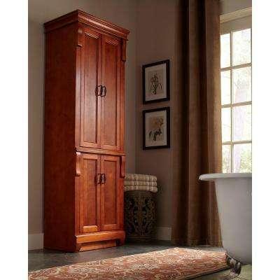 Naples 24 in. W x 17 in. D x 74 in. H Bathroom Linen Cabinet in Warm Cinnamon