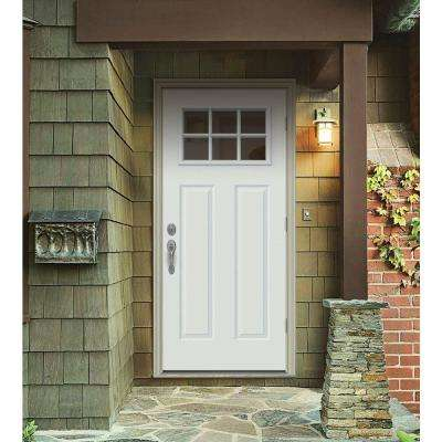 30 in. x 80 in. 6 Lite Craftsman White Painted Steel Prehung Left-Hand Outswing Front Door w/Brickmould