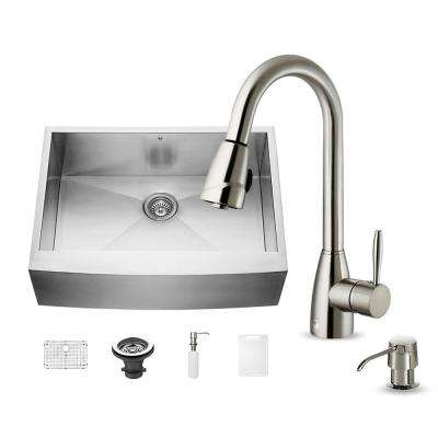 All-in-One Undermount Stainless Steel 30 in. Single Basin Kitchen Sink in Stainless Steal