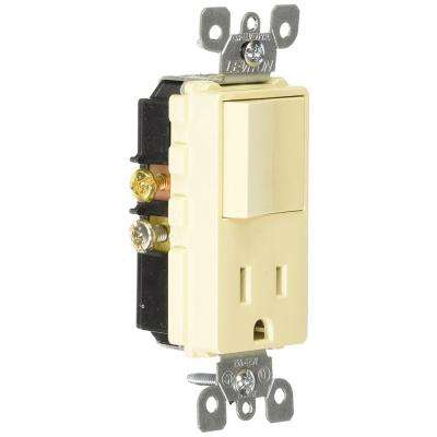 15 Amp Decora Commercial Grade Combination Single Pole Rocker Switch and Receptacle, Ivory