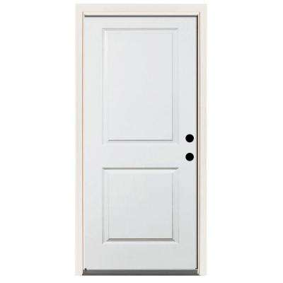 Premium 2-Panel Square Primed Steel Prehung Front Door