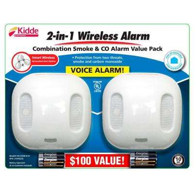 Battery Operated Smoke and Carbon Monoxide Combination Detector with Wire-Free Interconnect and Voice Alarm (2-pack)