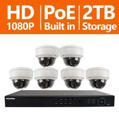 8-Channel Full HD IP Indoor/Outdoor Surveillance 2TB NVR System (6) Dome 1080P Cameras Remote View Motion Record