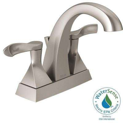 Everly 4 in. Centerset 2-Handle Bathroom Faucet with Metal Drain Assembly in SpotShield Brushed Nickel