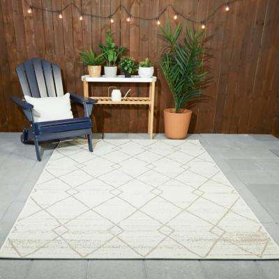 Diamond Links Cream 9 ft. x 12 ft. Trellis Indoor/Outdoor Area Rug