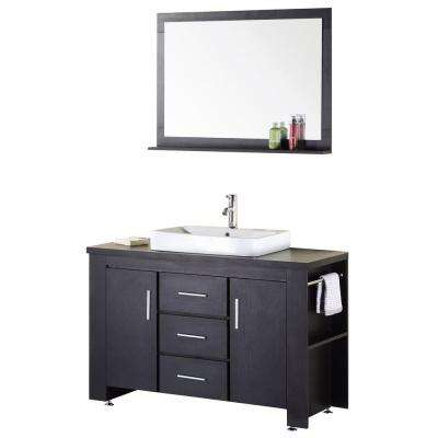 Washington 48 in. W x 22 in. D Vanity in Espresso with Wood Vanity Top and Mirror in Espresso