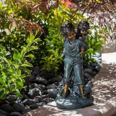 "Alpine Corporation 16"" Tall Indoor/Outdoor  Patina Finish Piggyback Kids Yard Statue Decoration"