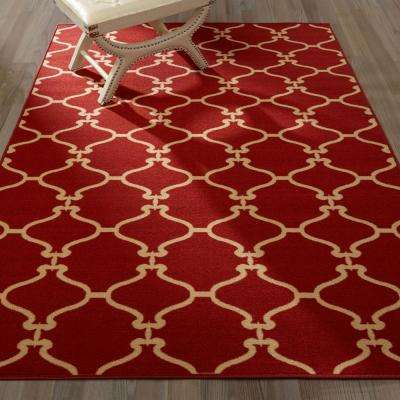 Clifton Collection Moroccan Trellis Design Red 5 ft. x 7 ft. Felt Area Rug