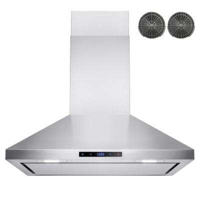 30 in. Convertible Kitchen Wall Mount Range Hood in Stainless Steel with LEDs, Touch Control and Carbon Filter