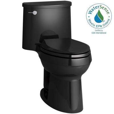 Adair Comfort Height 1-piece 1.28 GPF Single Flush Elongated Toilet with AquaPiston Flush Technology in Black Black