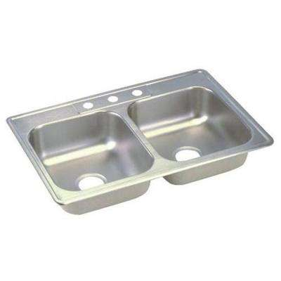 Dayton Top Mount Stainless Steel 25 in. 3-Hole Double Bowl Kitchen Sink