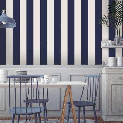 Mini Stripes Navy Self Adhesive Removable Wallpaper