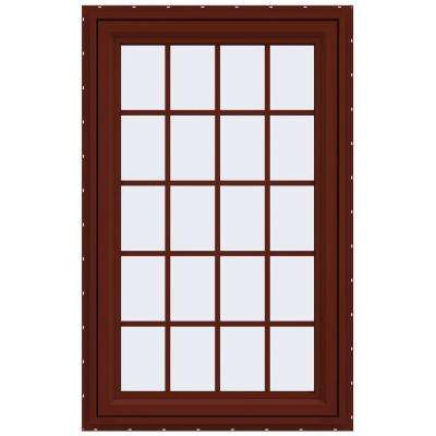 29.5 in. x 47.5 in. V-4500 Series Right-Hand Casement Vinyl Window with Grids - Red
