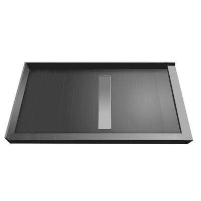 34 in. x 48 in. Double Threshold Shower Base with Center Drain and Tileable Trench Grate