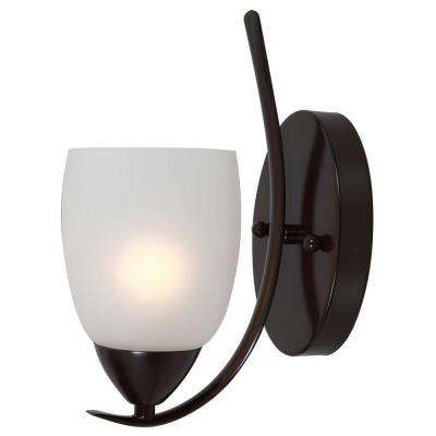 Mirror Lake 1-Light Oil Rubbed Bronze Sconce with White Etched Glass Shade