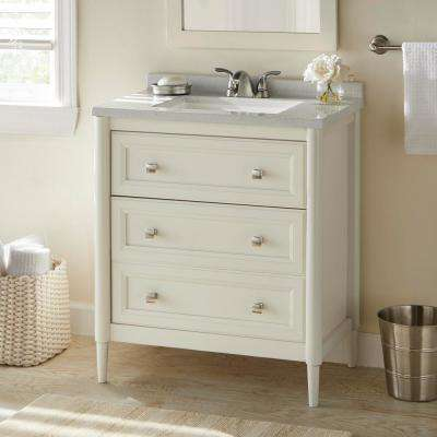 Whitley 31 in. W x 19 in. D Bathroom Vanity in Cream with Solid Surface Vanity Top in Autumn with White Sink