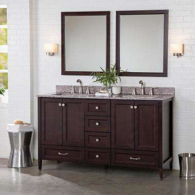 Claxby 61 in. W x 22 in. D Bathroom Vanity in Chocolate with Stone Effect Vanity Top in Mineral Gray with White Sink