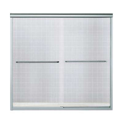 Finesse 59-1/4 in. x 55-3/4 in. Semi-Frameless Sliding Bathtub Door in Silver with Clear Glass Texture