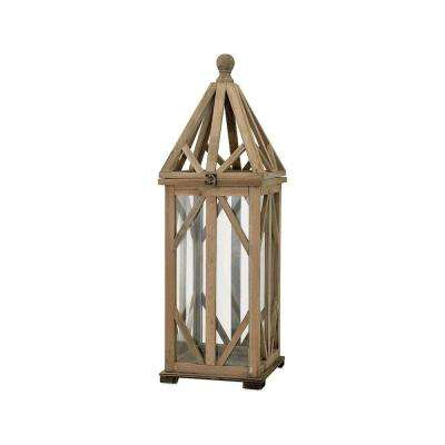 Dover 9.5 in. Natural Wood Lantern
