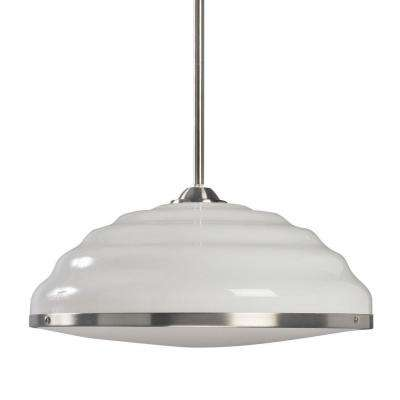 Honey Collection 1-Light White with Satin Nickel Trim Hand-Blown Pendant