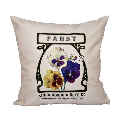 16 in. x 16 in. Cream Pansy Floral Print Pillow
