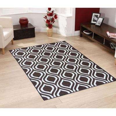 Rose Collection Contemporary Moroccan Trellis Design Brown 3 ft. x 5 ft. Non-Skid Area Rug