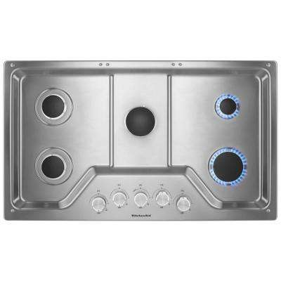 36 in. Gas Cooktop in Stainless Steel with 5 Burners including a Multiflame Dual Tier Burner and a Simmer Burner