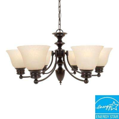 6-Light Hanging Mahogany Bronze Chandelier
