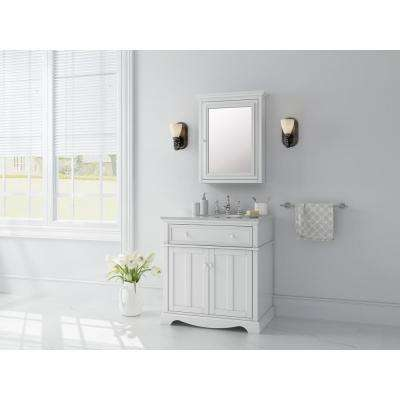 Fremont 32 in. W x 22 in. D Vanity in White with Granite Vanity Top in Grey with White Sink