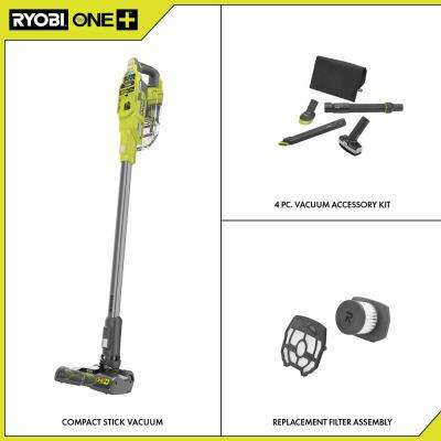 ONE+ 18V Cordless Compact Stick Vacuum Cleaner (Tool Only) w/4-Piece Vacuum Accessory Kit, Replacement Filter Assembly