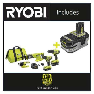 18-Volt ONE+ Lithium-ion Cordless 4-Tool Combo Kit with Free 18-Volt ONE+ 4.0 Ah LITHIUM+ HP High Capacity Battery