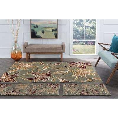 Deco Seafoam 5 ft. x 7 ft. Floral 3-Piece Rug Set