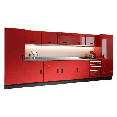 Select Series 75 in. H x 168 in. W x 22 in. D Aluminum Cabinet Set in Red with Stainless Steel Worktop (13-Piece)