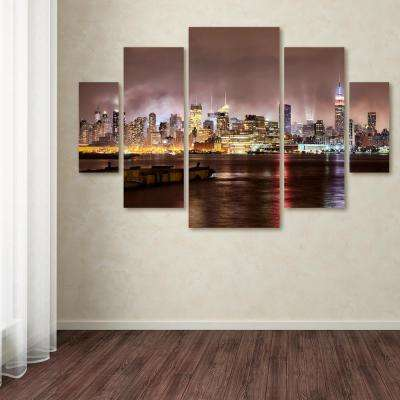 "40 in. x 58 in. ""Midtown Manhatten Over Hudson River"" by David Ayash Printed Canvas Wall Art"