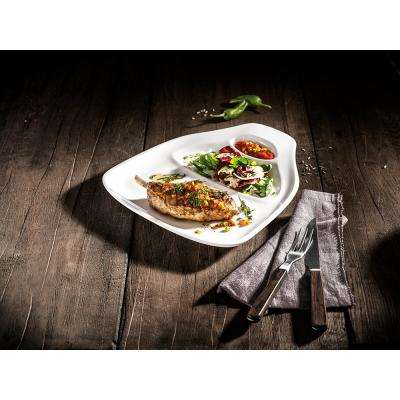 BBQ Passion 2-Piece Casual White Porcelain Steak Plates (Service for 2)
