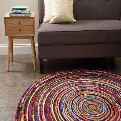 Ripple Multi 8 ft. x 8 ft. Round Area Rug
