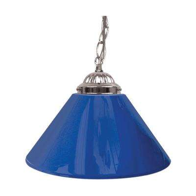 14 in. Single Shade Blue and Silver Hanging Lamp