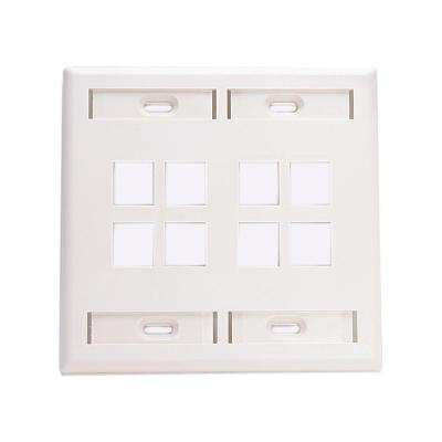 2-Gang Quickport Standard Size 8-Port Wallplate with ID Windows, White