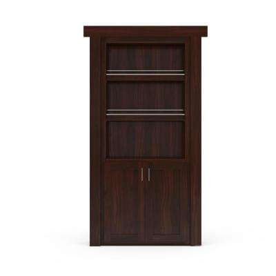 32 in. x 80 in. Flush Mount Assembled Forward Pantry Door Walnut Dark Stained Left-Hand Inswing