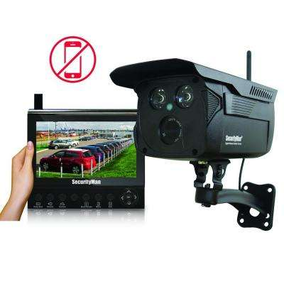 Wireless 4-CH VGA Surveillance System and 1 Wireless Outdoor Camera with 120 ft. Night Vision and 7 in. LCD/SD Recorder