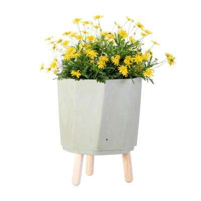 Eco 15 in. Khaki Green Natural Plant Fibers and Recycled Resin Self Watering Planter