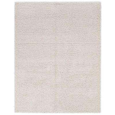 Contemporary Solid Beige 7 ft. 10 in. x 9 ft. 10 in. Shag Area Rug