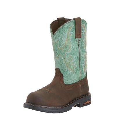 Women's Oily Distressed Brown/Turquoise Tracey Pull on Composite Toe Waterproof Work Boot