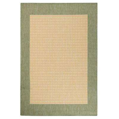 Checkered Field Natural and Green 5 ft. 3 in. x 7 ft. 6 in. Area Rug