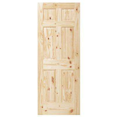 6 Panel Unfinished Knotty Pine Interior Door Slab. Light Brown Wood