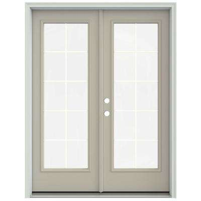 60 in. x 80 in. Desert Sand Prehung Right-Hand Inswing 10 Lite French Patio Door with Brickmould